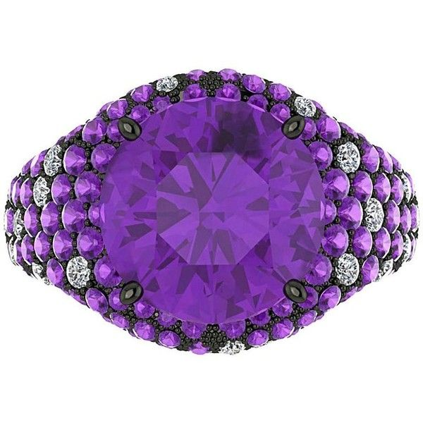 Ferrucci Amethyst Diamond Black Gold Ring ($9,940) ❤ liked on Polyvore featuring jewelry, rings, cocktail rings, purple, 18k diamond ring, pre owned diamond rings, crown ring, diamond rings and amethyst gold ring