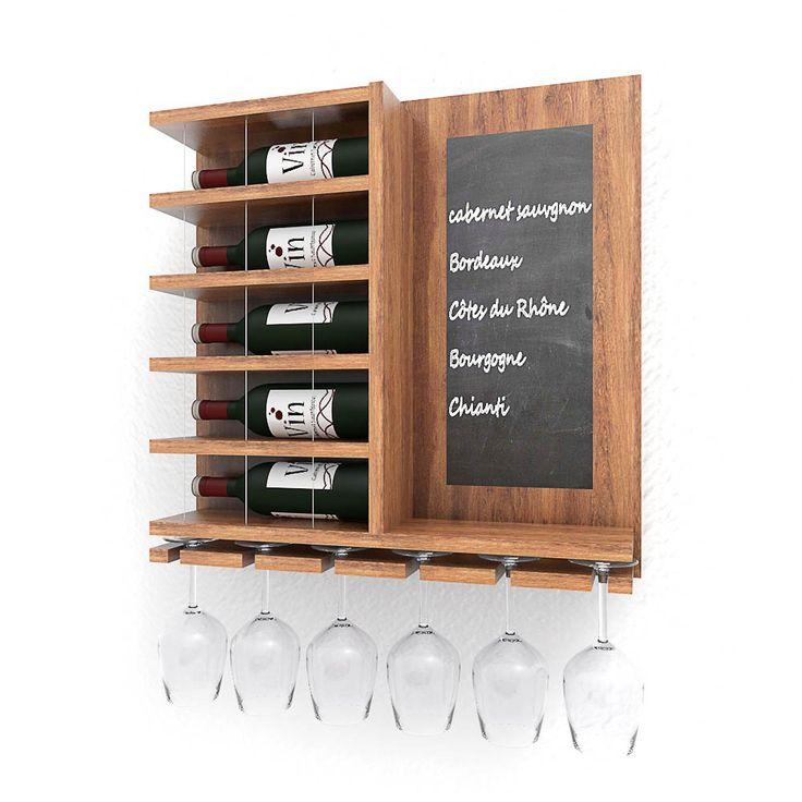 Fraai wandrek met plank waarin wijnglazen gehangen kunnen worden. Dit rek is geschikt voor vijf wijnflessen. Het rek kan in de hoogte als in de breedte aangepast worden. Heel geschikt voor thuis aa…