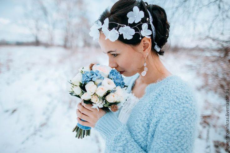 """Купить Воздушный венок """"Нежность лепестка"""" для невесты - бежевый, украшение айвори, цветы в волосах, голубой"""