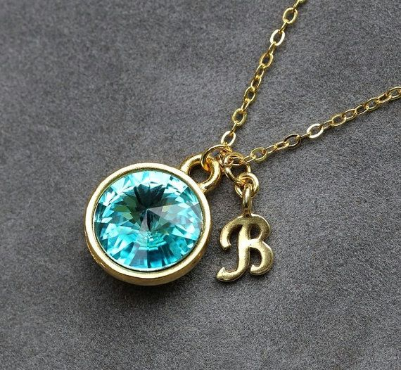 Initial Birthstone Jewelry, December Blue Zircon Necklace, New Mother, Blue Topaz Crystal, Gold Letter Jewelry, Initial Necklace