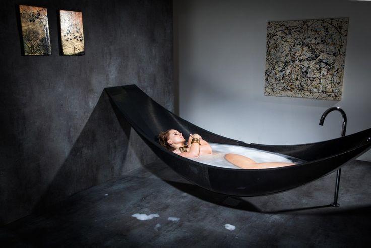 OMG bath hammock how cool - hammock bathtub design made from layers of carbon fiber by Splinter Works sleek bath tub floating bath tub Homesthetics 1 Oasis of Serenity:...
