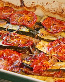 Char-Baked Zucchini, Tomato, and Eggplant has onions, thyme, and garlic in there, too. Slow-baking gets it caramelized, charred, and yummy.
