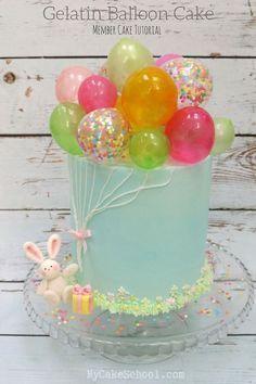 Erfahren Sie, wie Sie diesen bezaubernden Ballon-Kuchen mit farbenfrohen Gelatine-B …   – backen/Torten/ect