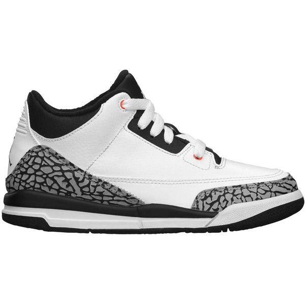 online store 75a0e 66ca9 ... (002 gris negro rojo  Jordan Retro 3 Boys  Preschool ( 75) ❤ liked on  Polyvore featuring shoes,