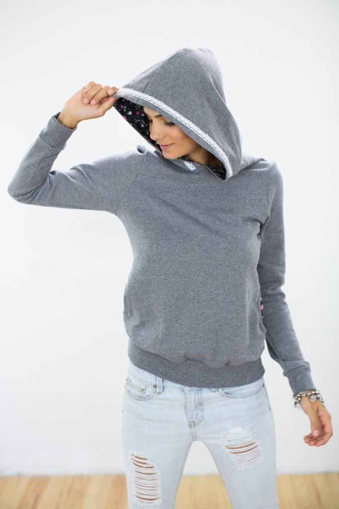 Hoodie Annemarie Light Gray Cosy hoodie in a light gray cotton sweat fabric with cozy fleece inside. The hood and side pockets are lined with a floral cotton fabric with polka dot pattern. A white lace ribbon adorns the hood. http://shoko-shop.com/collections/new-in/products/hoodie-annemarie-light-gray