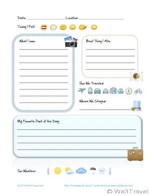 Kid Travel Journal Printable Interior Page downloadable at We3Travel.com