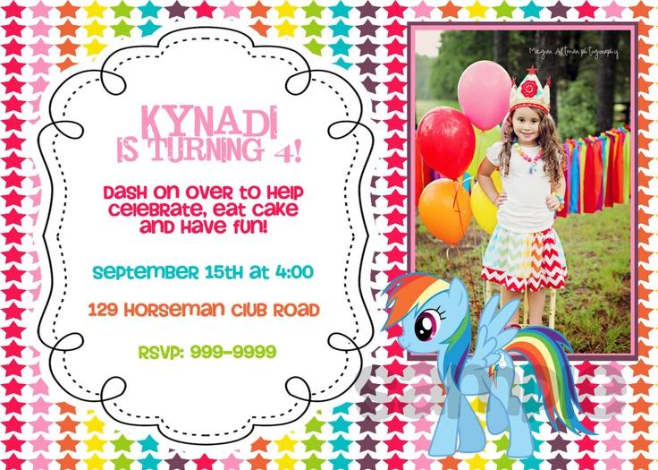 125 Best images about Rainbow Dash Birthday Theme – Free Printable My Little Pony Birthday Invitations