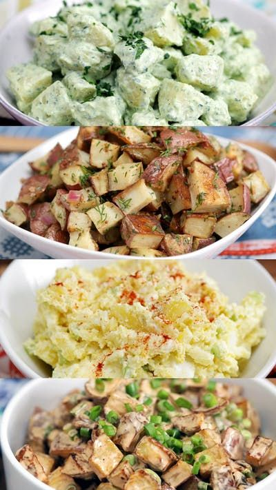 Recipe with video instructions: Why make plain old potato salad when you can make Greek, curry, Sriracha and bacon-flavored offerings? Ingredients: 2 lbs Yukon potatoes, peeled and cubed, 1 ½ cup Greek yogurt, 2 Tbsp vinegar, 2 Tbsp sugar, 3 Tbsp curry powder, Salt and pepper, 2 Tbsp cilantro, ½ cup onion, 1 cup peas, ¼ cup golden raisins, 3 hard-boiled eggs, 1 tsp paprika
