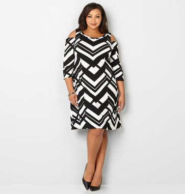 Shop new dresses in sharp contrast like our plus size Chevron Cold Shoulder Dress available in sizes 14-32 online at avenue.com. Avenue Store