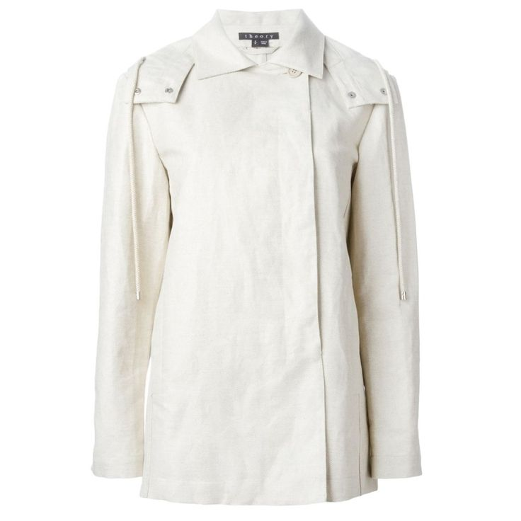 Theory Women's Zelio Hooded Coat Utility Coated (Medium, PU White / Canepa). Versatile jacket with a removable hood and water-resistant coating. Spread collar, Side slit pockets. Button-detachable drawstring hood with double snap closure. Hidden front buttons. Grommets at armpits for ventilation.