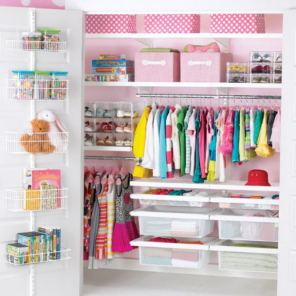 Cute and practical. The clucky OCD part of me is turning cartwheels haha. The Container Store > White elfa décor Girl's Reach-In Closet