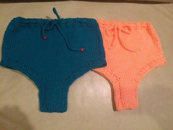 2 shorts: blue and Peach knit shorts sexy bikini high by KnitSew4U