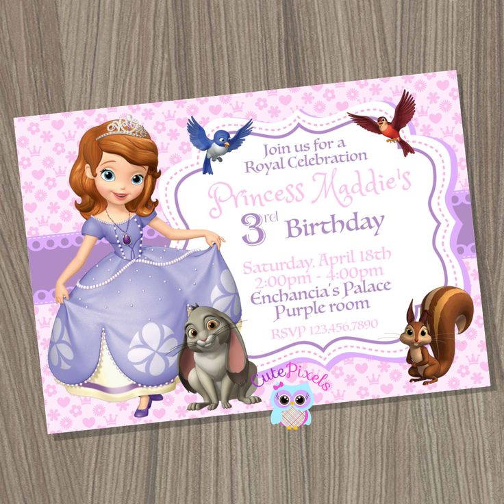 Princess Sofia Invitation, Sofia the first Invitation, Sofia Birthday, Sofia the first Party, Disney Sofia, Princess Birthday by CutePixels on Etsy https://www.etsy.com/listing/224676628/princess-sofia-invitation-sofia-the