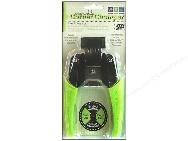"""We R Memory Crop-A-Dile Tool Corner Chomper Stub/Deco- The strength of the incredible Crop-A-Dile in a corner rounder, with soft, Lime silicone handles. 2 in 1 corner """"punch"""", 3/8"""" concave corner and 1/2"""" convex set-in corner. Instructions and warnings on the back of the packaging. Not recommended for use by children. This pliers-like tool will cut easily through paper, cardstock, chipboard, leather, plastic, acrylic and more"""