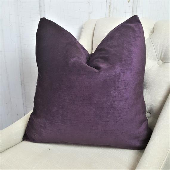 Purple Velvet Pillow Cover Euro Pillow