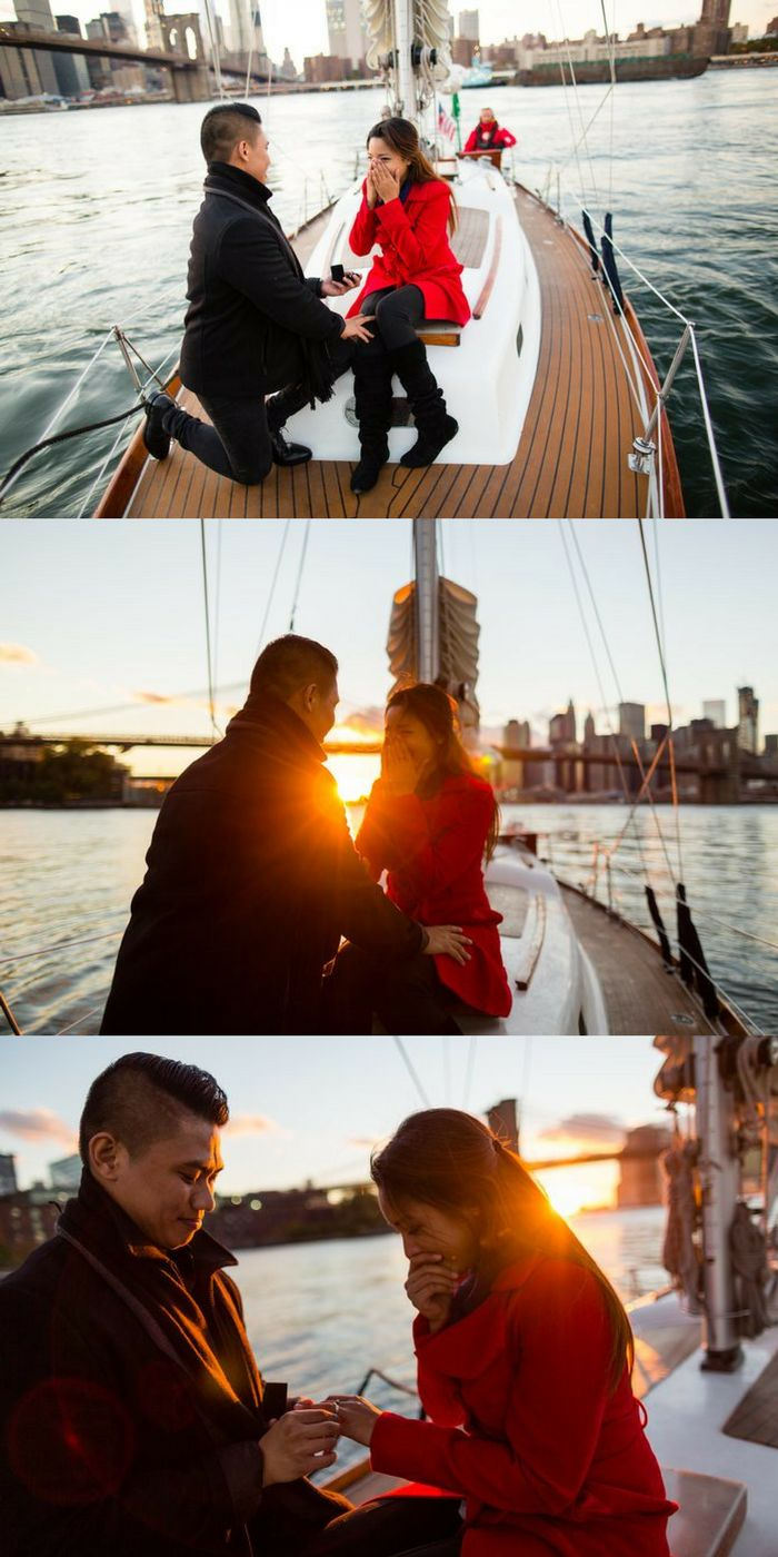 """By the time we got to the Brooklyn Bridge, the sun was set perfectly at the edge of the horizon, and at that moment he proposed to me."""