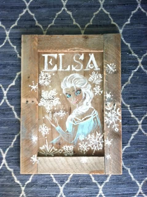 ELSA snowflake sign  Frozen  Made to Order by embellishwoodshop - hand painted wooden sign, rustic