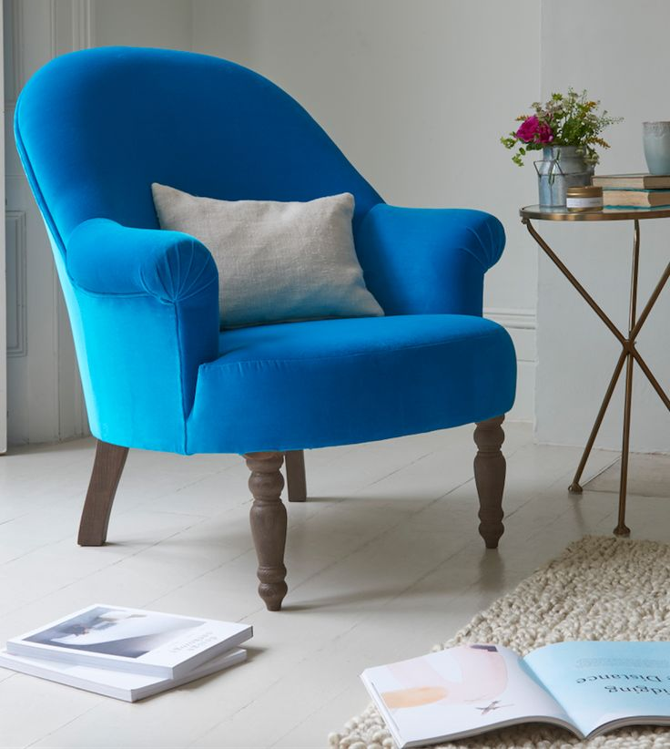Loaf's deep blue velvet Munchkin chair with brass Tria side table