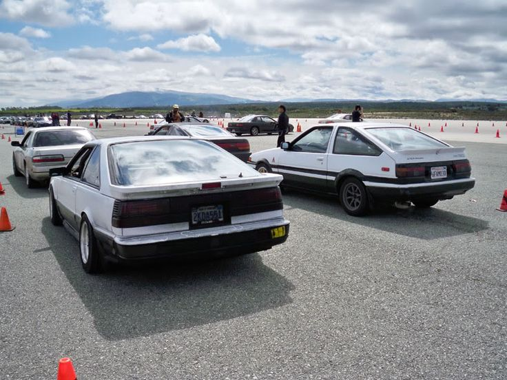 nissan s12 on the left next to an ae86 trueno. Black Bedroom Furniture Sets. Home Design Ideas