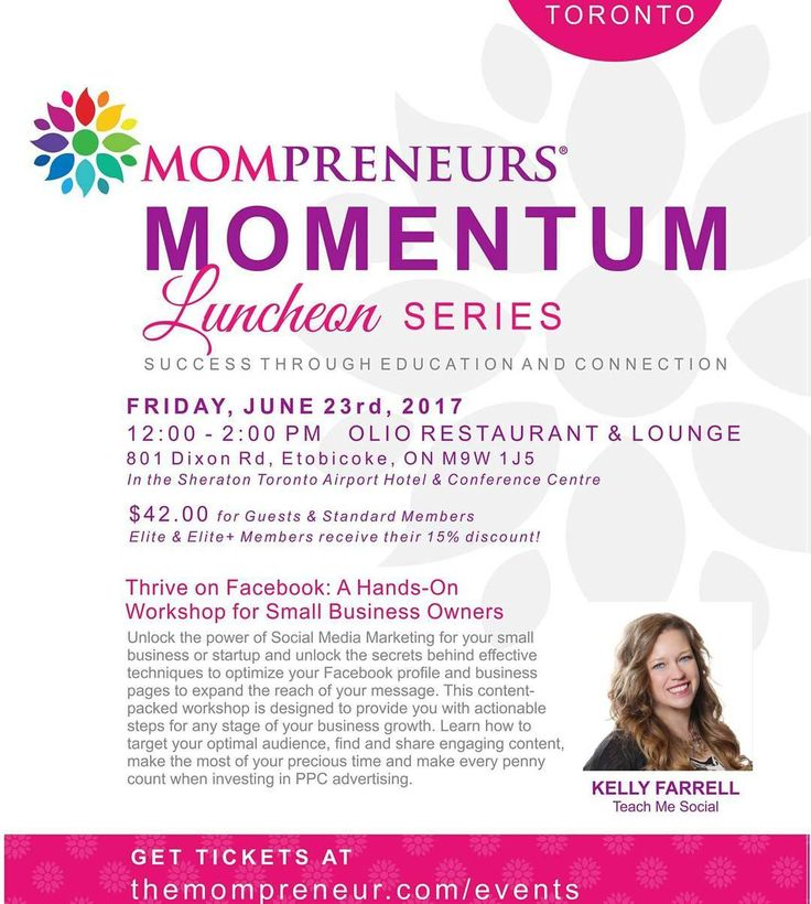 This Friday!!  Join me at the monthly #Mompreneurs Momentum Luncheon in Toronto at Olio Restaurant and Lounge at @sheratonyyz. Your ticket includes lunch and an exclusive workshop as well as invaluable  networking opportunities. . Hosted by @themompreneurtm. Guest speaker @mskellyfarrell of @teachmesocial . . .#businesswomen #socialmedia #smallbusiness #girlboss #networking #luncheon #ladieswholunch #moms #fridaylunch #smm #workshop #network #mompreneur #entrepreneur #lifeofasoeaker #speaker…