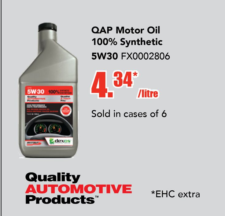 HUGE SALE ON SYNTHETIC OIL >>>  Q.A.P 100% SYNTHETIC MOTOR OILS are designed for use in today's demanding gasoline engines. They exceed the requirements of the American Petroleum Institute's (API) current performance level, for gasoline engine oils and satisfy the current warranty requirements of domestic and foreign automobile manufacturers requiring an API SN or ILSAC GF-5 product. Sold in cases of 6.  https://aadiscountauto.ca/special/1199/qap-5w30-motor-oil-full-synthetic.html…
