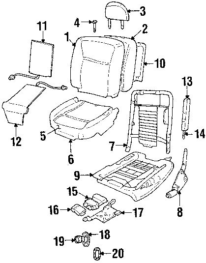 2010 Lincoln Town Car Executive Front Seat Components Diagram