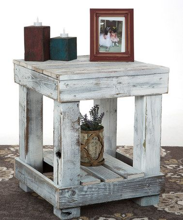 White Distressed End Table #zulilyfinds