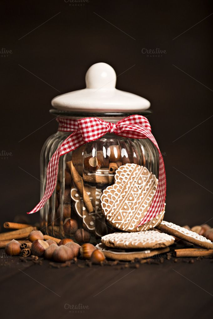 Gingerbread cookies in a jar by Izdebska on @creativemarket