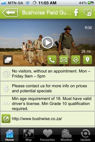 """Bushwise is a hAPPy business - an """"Education & Wildlife Training """" listing on the Hoedspruit Info App"""