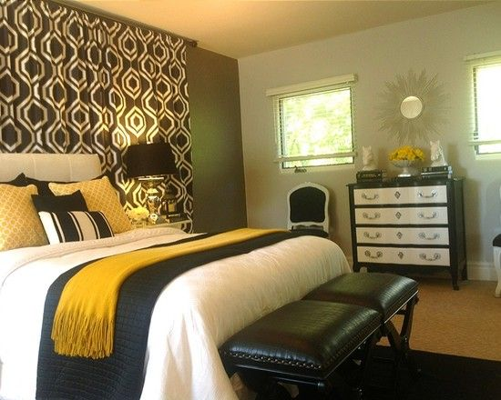 Black and White Bedroom Decor for Best Bedroom Inspiration : Modern Black And White Bedroom Decor Accent Also Double Bed With White Sheet And Black Comforter Also Blaze Orange Bedspread Also Black And White Chest Of Drawers And Elegant Black Table Lamp