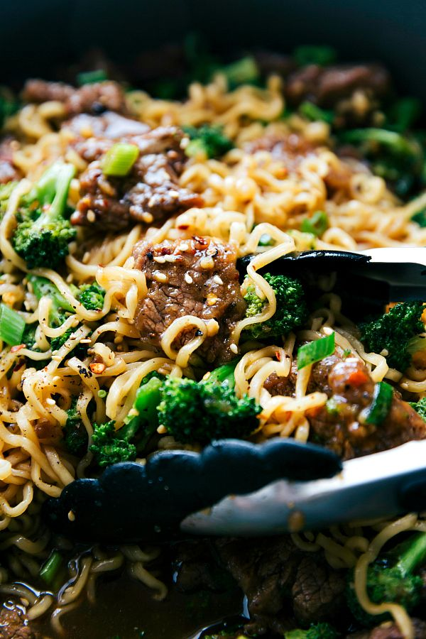 The best way to enjoy beef and broccoli -- over ramen noodles! A delicious and easy 30 minute dinner recipe! From chelseasmessyapron.com