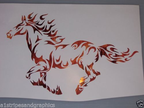 Mustang Tribal Flame Horse Pony Window Decal Decals Trailer Sticker Graphics | eBay