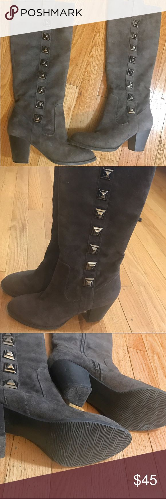 Authentic Suede, grey knee high boots. Authentic suede, grey boots with a chunky heel. Very comfortable. (Man made fabric upper) Shoes Heeled Boots