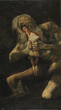 Saturn Devouring his Son - Francisco de Goya.  c.1819-23.  Oil mural on plaster transferred to canvas.  143 x 81 cm.  Museo del Prado, Madrid, Spain.