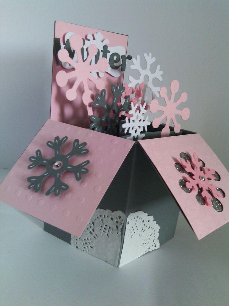 Carte de voeux noël, nouvelle année 2015 pop-up 3D Flocons d'hiver - fait main Pop-up christmas card