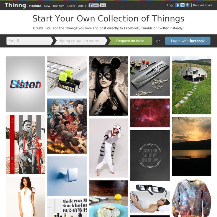 Create lists, add the Thinngs you love and post directly to Facebook, Tumblr or Twitter instantly!