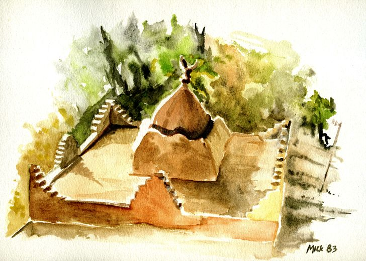 Roof of a shrine near Ouazarzate, Morocco Watercolour by Mike Hawthorne 1983