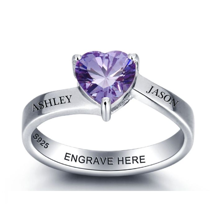 Discount Voucher Special!! >>> ENTER CODE: SUMMER AT CHECKOUT & SAVE FOR EACH AND EVERY ITEM IN OUR SPECIALS CATALOGUE! .... Specials items may be time limited so get yours quick! ....  Solitaire Heart Personalised Birthstone Ring - 925 Sterling Silver