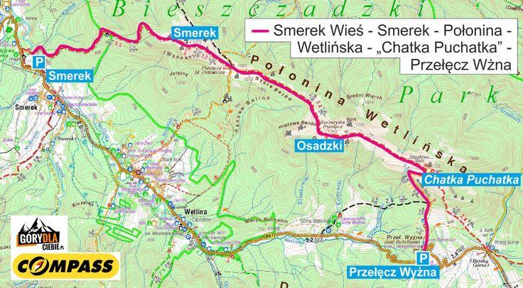 Smerek iPołonina Wetlińska - mapa
