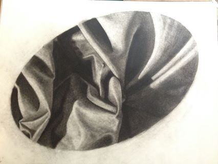 Study in Fabric/Textile 2013 18x24 charcoal t. johnsen