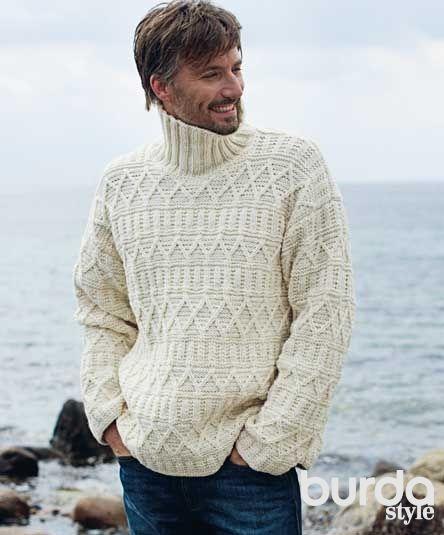 Мужской пуловер с рельефным узором - схема вязания спицами. Вяжем Пуловеры на…