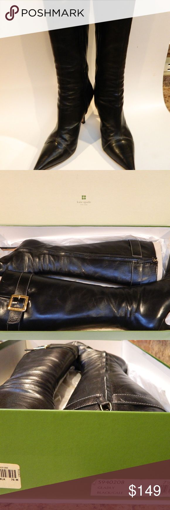 """KATE SPADE black leather boots 7.5 Gladly buckle Gorgeous black calf Leather - perfectly hugs your leg  Style - """"Gladly""""  Gold Buckle Accent   Side zipper closure             Size 7 1/2          Made in Italy                             Excellent pre-owned condition - worn just a few times - Please see pictures   They look and feel amazing on - incredibly soft leather  Fits a thin, narrow calf - no gap between leg and boot  Includes original box & packaging       Original Retail Price - $575…"""