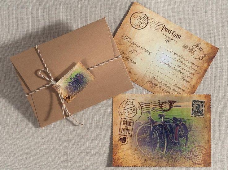 Vintage post-card πρόσκληση γάμου με ρετρό ποδήλατα.