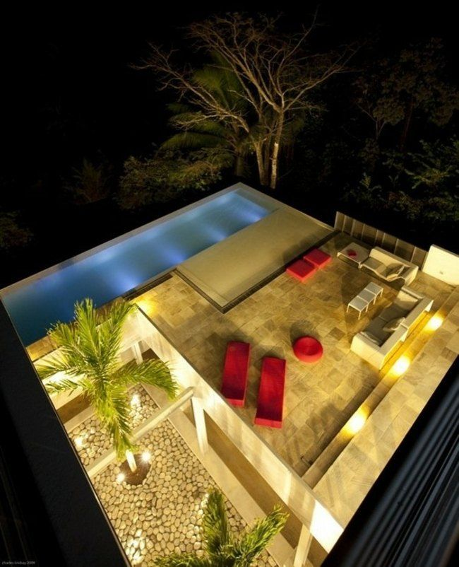 garten terrasse beleuchtung idee schwimmbecken pool. Black Bedroom Furniture Sets. Home Design Ideas