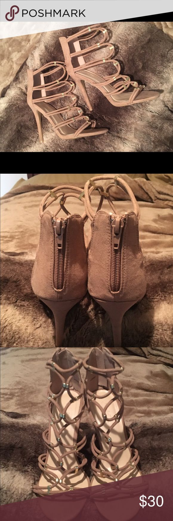Nude Charlotte Russe heels Very dressy nude heels! Worn only once but LOVED them. I bought them for a party so no longer need. With gold accents and a zip up heel. Open to offers but do not hold or trade! Shoes Heels