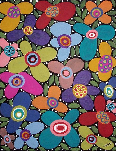 Karla Gerard. Folk Art Blooms. 11x14 Original acrylic folk art abstract painting on stretched canvas..