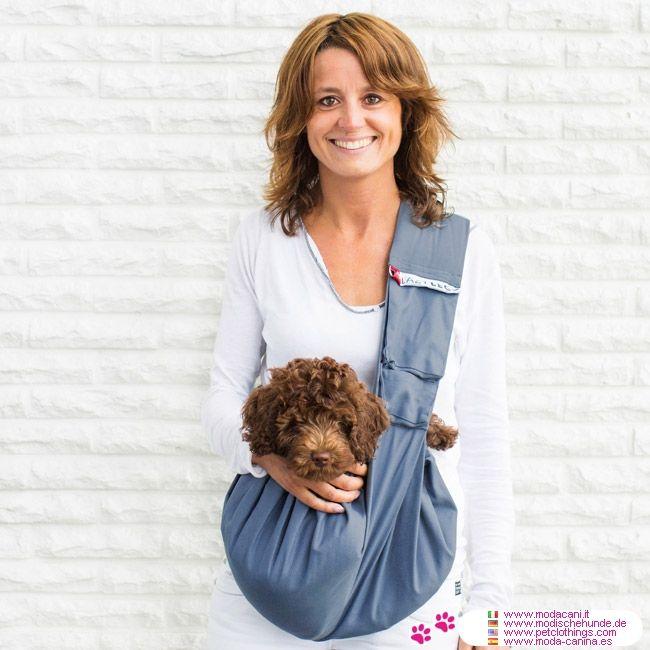 Tracolla in Cotone con Tasca per Cani fino a 15 Kg - Trasportino a Tracolla per cani fino a 15 Kg nella versione con tasca, con esempi di cani piccoli (Barboncino) e medi (Bulldog Francese) o 2 cani