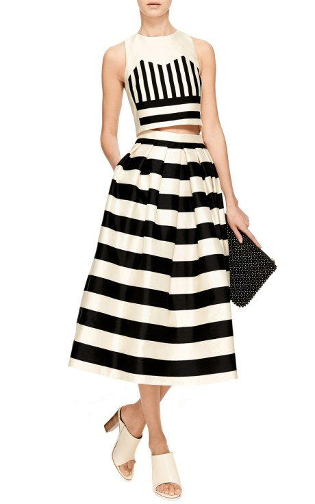 Striped Silk-Satin Midi Skirt by Tibi - Moda Operandi