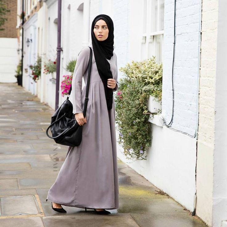 INAYAH |  Dusty Ash Fold #Abaya + Black Georgette #Hijab  www.inayahcollection.com