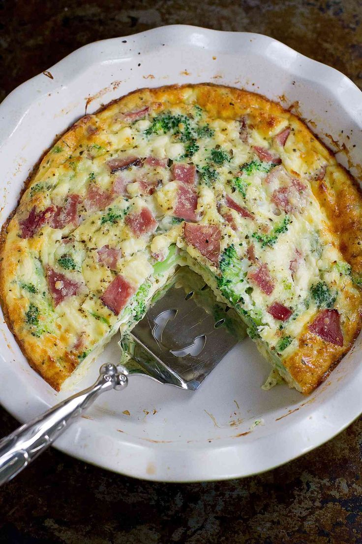 Use up your leftover ham with this healthy, delicious Broccoli and Ham Crustless Quiche recipe. 122 calories and 3 Weight Watchers SmartPoints